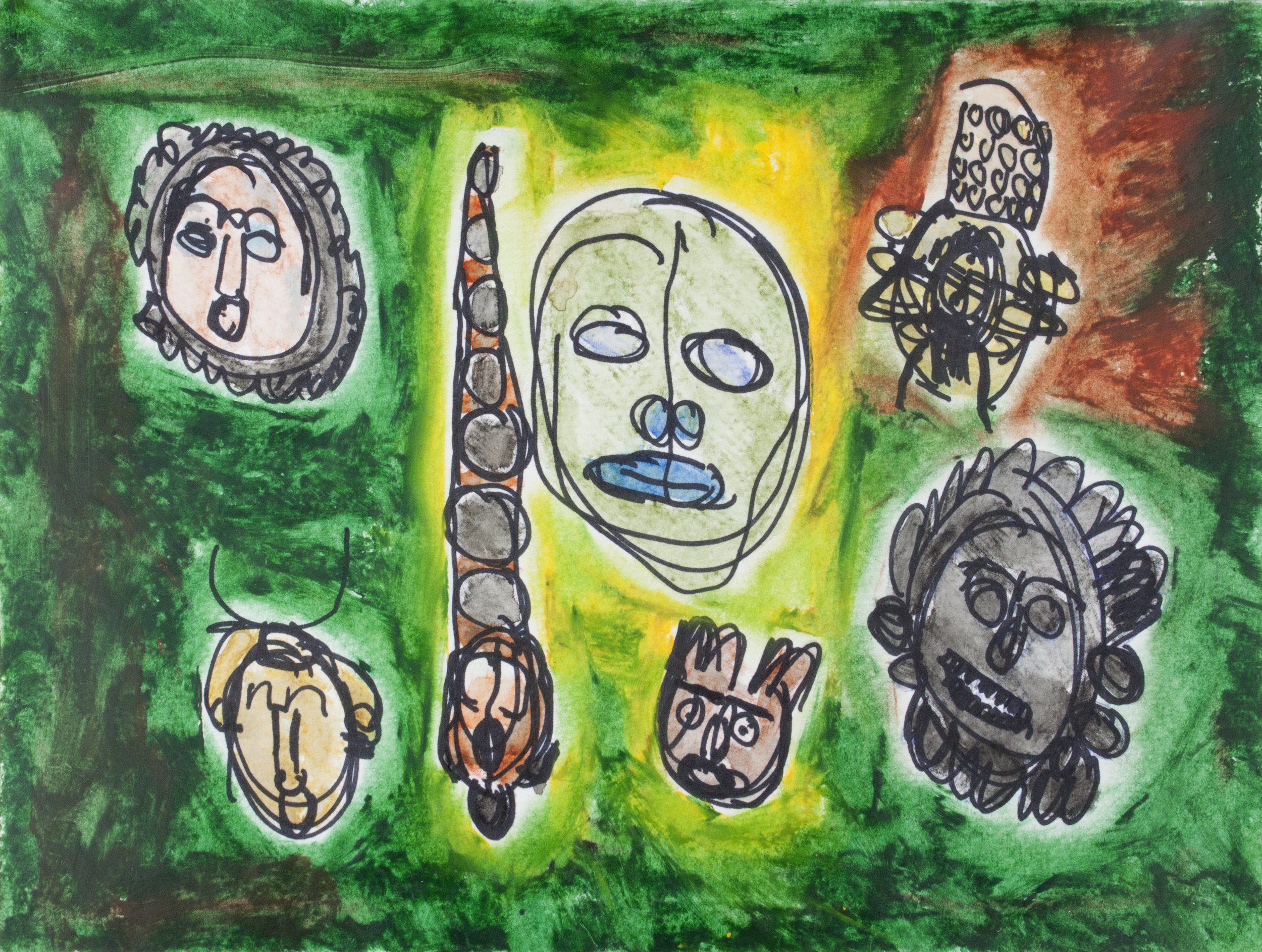 "Masks . Permanent marker, watercolor pencil, and oil pastel on watercolor paper. 12"" x 9""."