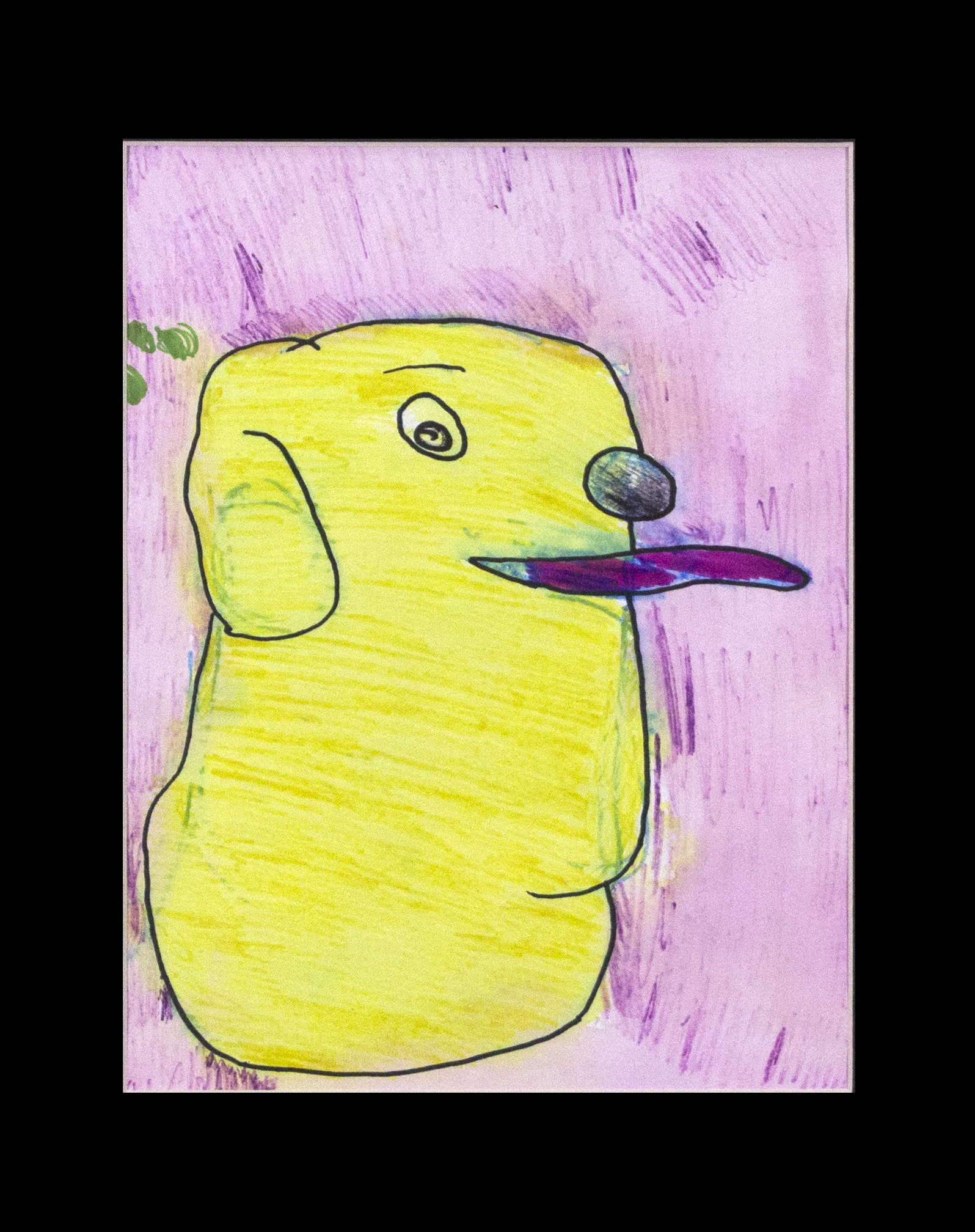 "Yellow Lab . Washable marker and permanent marker on cold pressed paper. 11"" x 14"" framed."