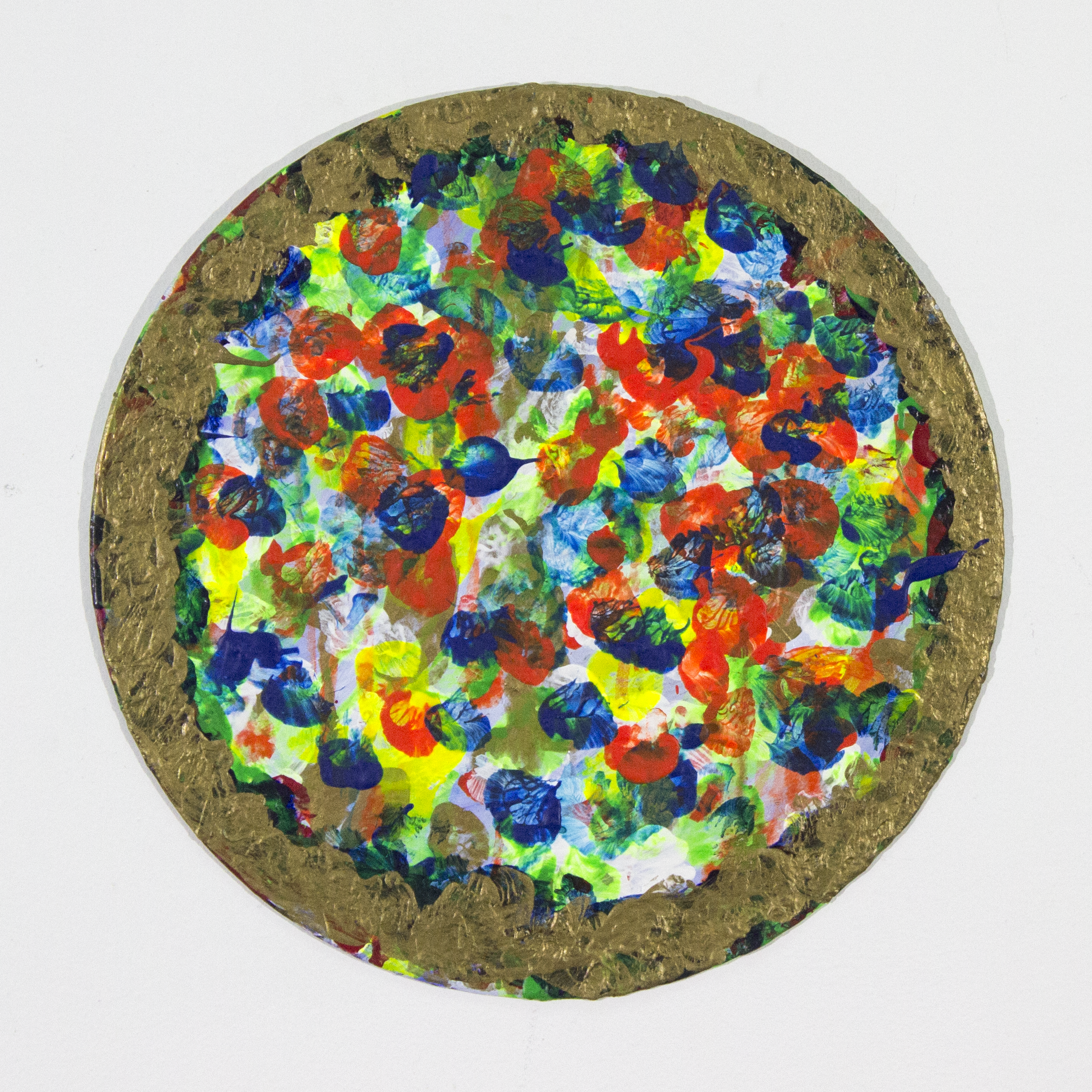 "Pizza Record . Acrylic on repurposed record. 11.75"" x 11.75""."