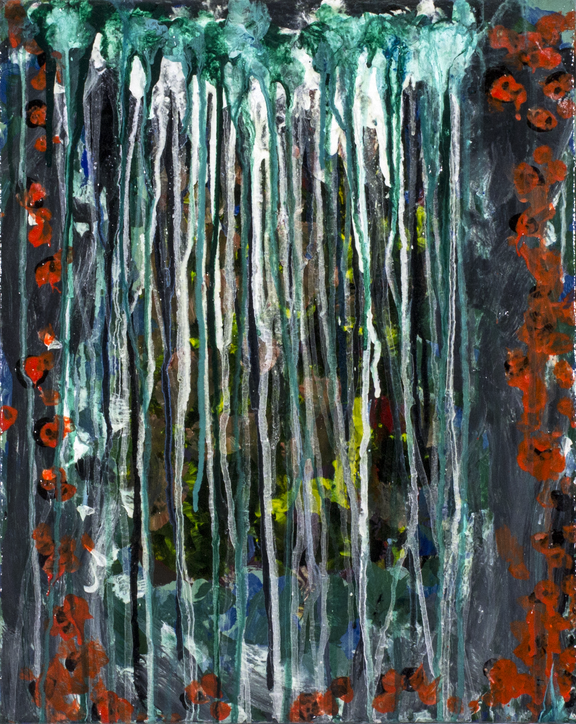 "Raindrops . 2017. Acrylic on stretched canvas. 16"" x 20""."