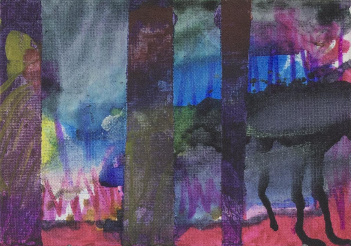 "Happy   Wandering . 2017. Mixed media on canvas board. 7"" x 5""."