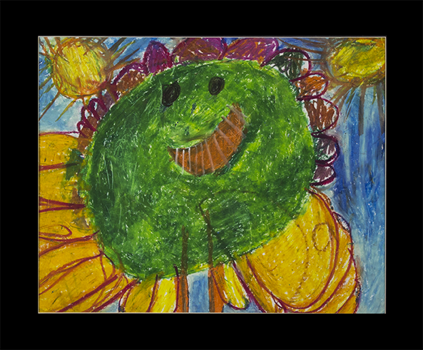 "Flower Girl.  Oil pastel on bristol. 24"" x 20"" matted."