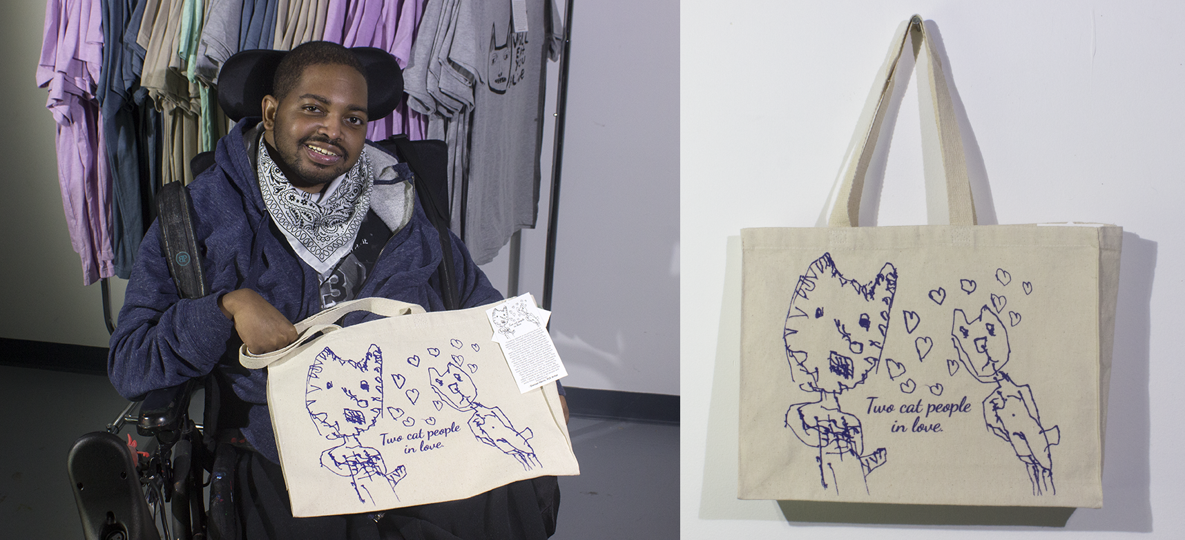 Damian with his tote bag currently for sale at the St. Louis Artists' Guild.  Two Cat People in Love . 2019. Screen print.