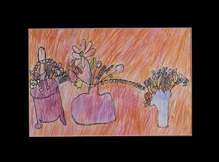 """Beautiful Picture of Flowers and Figure . Graphite, colored pencil, and ink pen on paper. 16"""" x 12"""" matted."""