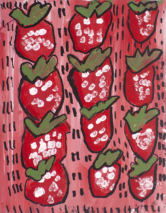 """Strawberries . Acrylic and paint marker on stretched canvas. 11"""" x 14""""."""