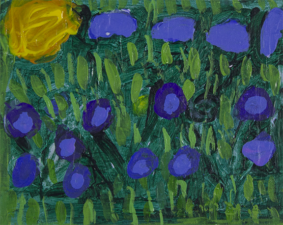 """Field of Flowers . 2018. Acrylic on canvas. 10"""" x 8""""."""