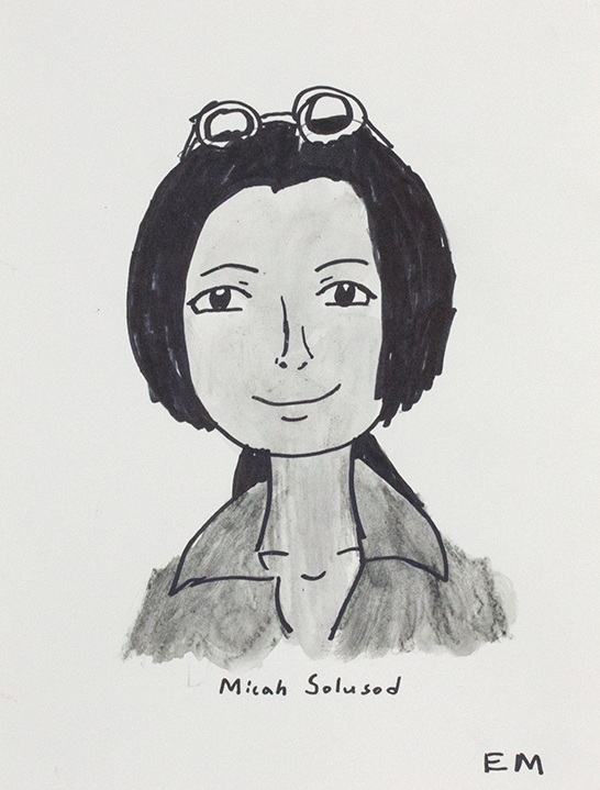 """Micah Solusod . 2018. Watercolor pencil and sharpie on paper. 11"""" x 14"""" matted."""