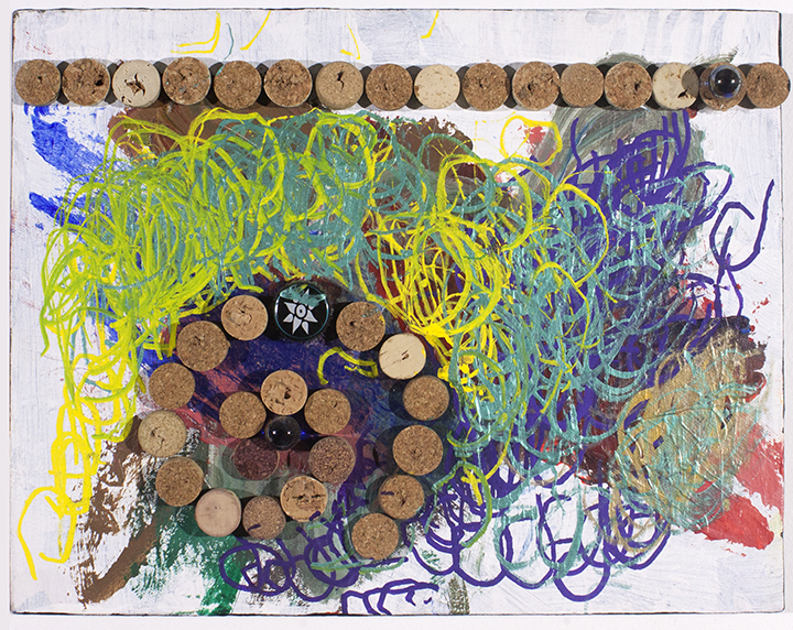 """Spirals . 2017. Acrylic, paint marker, corks, and found object assemblage on stretched canvas. 14"""" x 11"""" 1.75""""."""