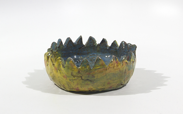 "Donut Crown . Earthenware with commercial glazes. 5.625"" x 6"" x 2.5""."