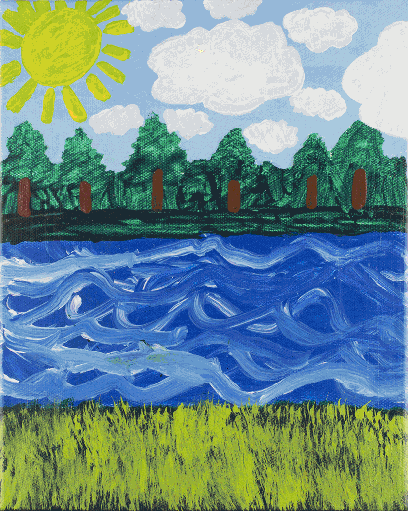 "Landscape . Acrylic on stretched canvas. 8"" x 10"" x 1.5""."