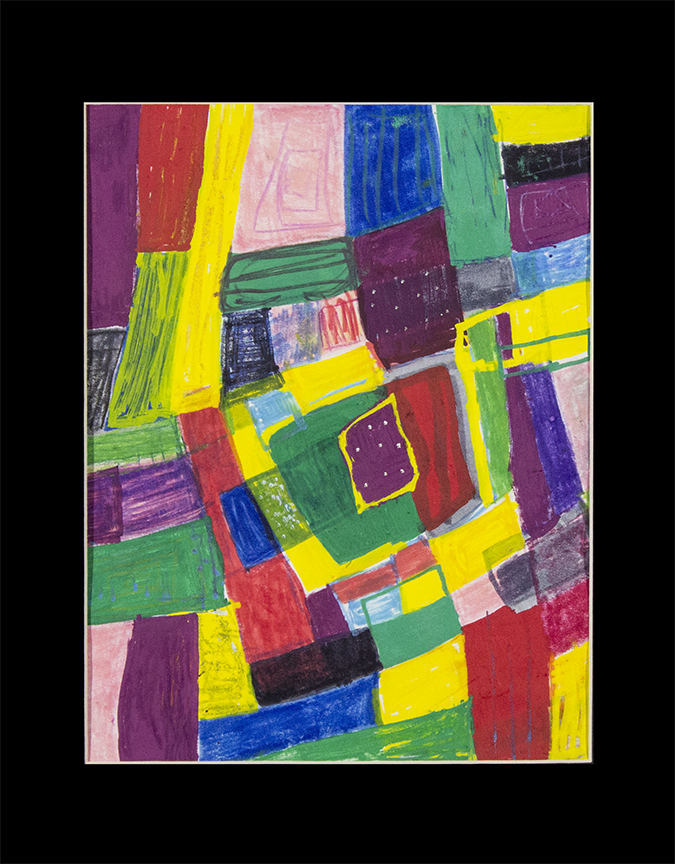 "Colorful Squares.  Washable marker and paint marker. 11"" x 14"" matted."