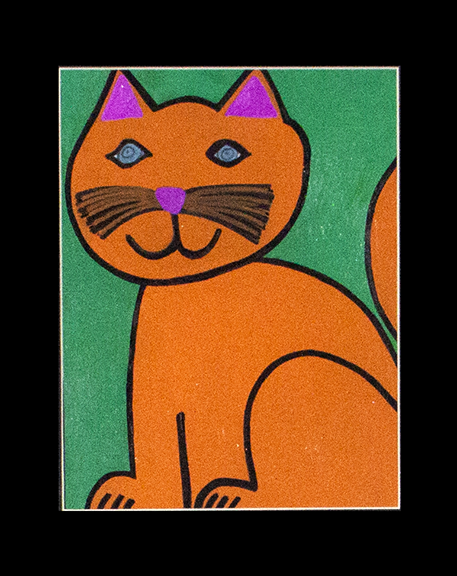 "Cute, Fluffy, Orange Cat with Blue Eyes. Acrylic paint and paint marker on paper. 9"" x 12"" framed."