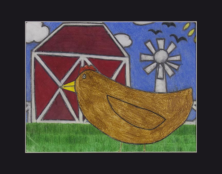 """Chicken on a Farm.  2018. Graphite and colored pencil. 12"""" x 9""""."""