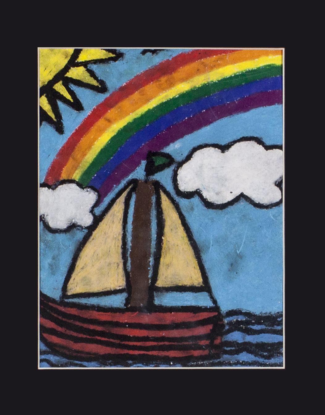 "Sail Boat.  2018. Oil pastel on paper. 9"" x 12""."