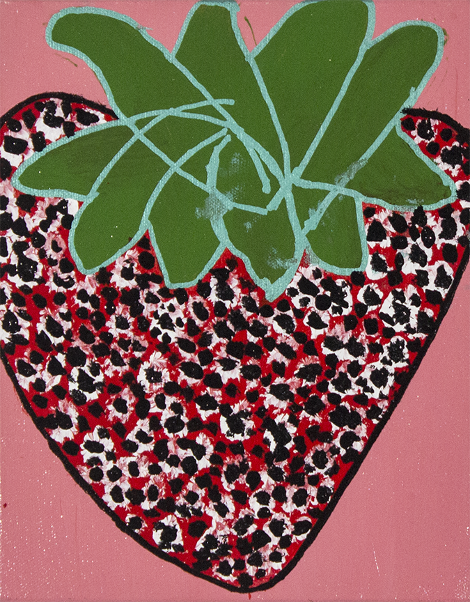 "Cute Strawberry . Acrylic and paint marker on stretched canvas. 8"" x 10"" x 1.5""."