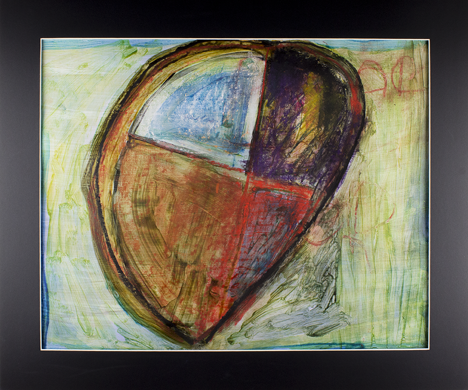 """Big Divided Heart . Acrylic, chalk pastel, and oil pastel on paper. 24"""" x 20"""" matted."""