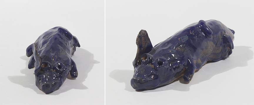 """Cute Pig.  Earthenware with commercial glazes. 5.5"""" x 2.5"""" x 1.75""""."""