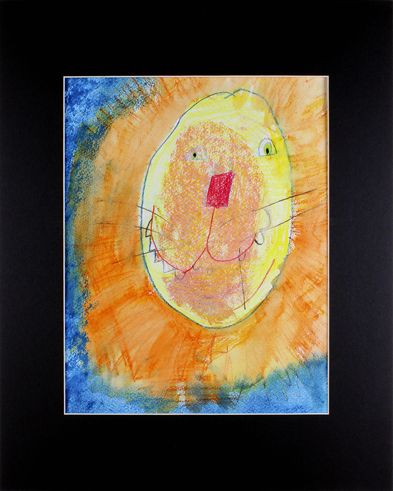 """Lynn   the   Lion . Colored pencil, chalk pastel, and watercolor pastel on cold pressed paper. 16"""" x 20"""" matted."""