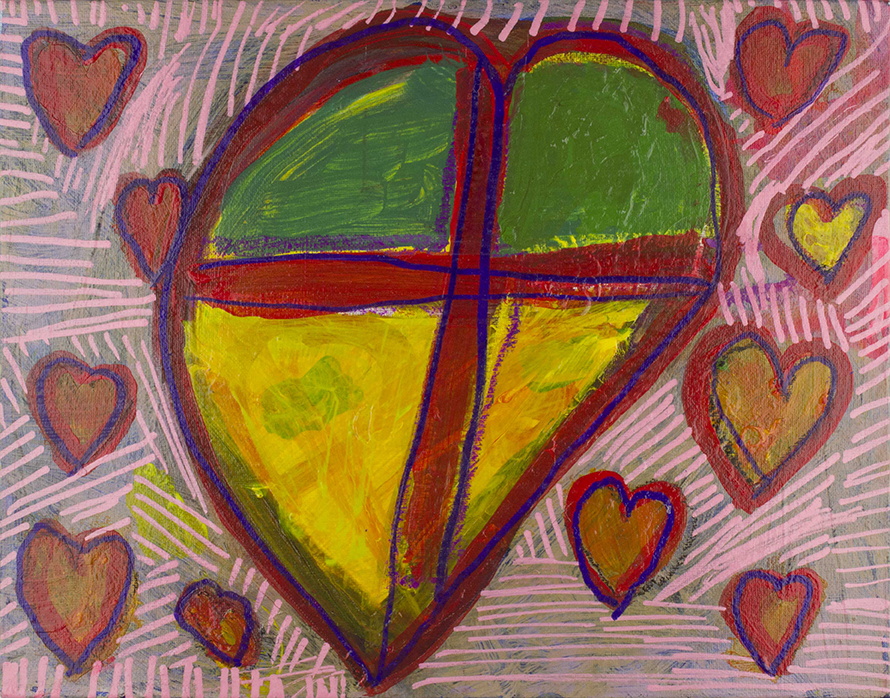 Courtois_Jen_My Heart is Pounding_Acrylic and paint marker on canvas panel_14%22 x 11%22.png