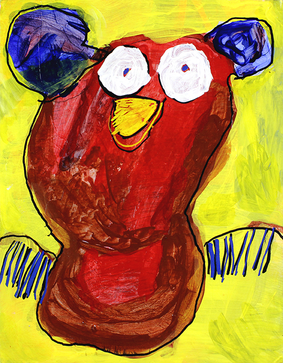 """Red Bird.  Acrylic and paint marker on canvas panel. 11"""" x 14""""."""