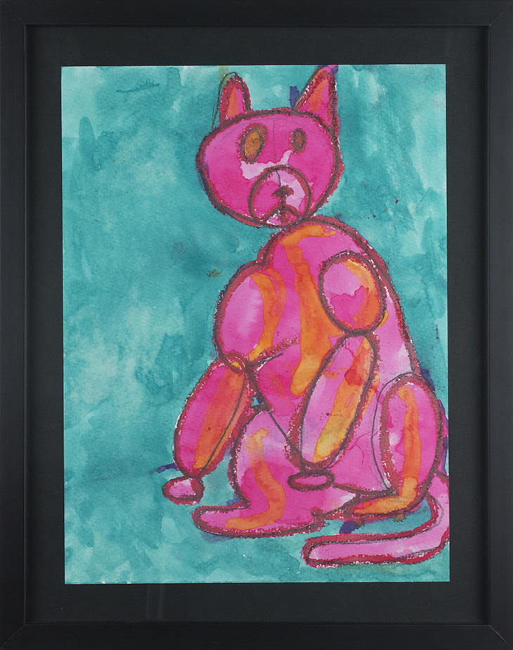 """Timmy the Cat.  Oil pastel, graphite pencil, and watercolor. 15"""" x 18"""". Sold."""