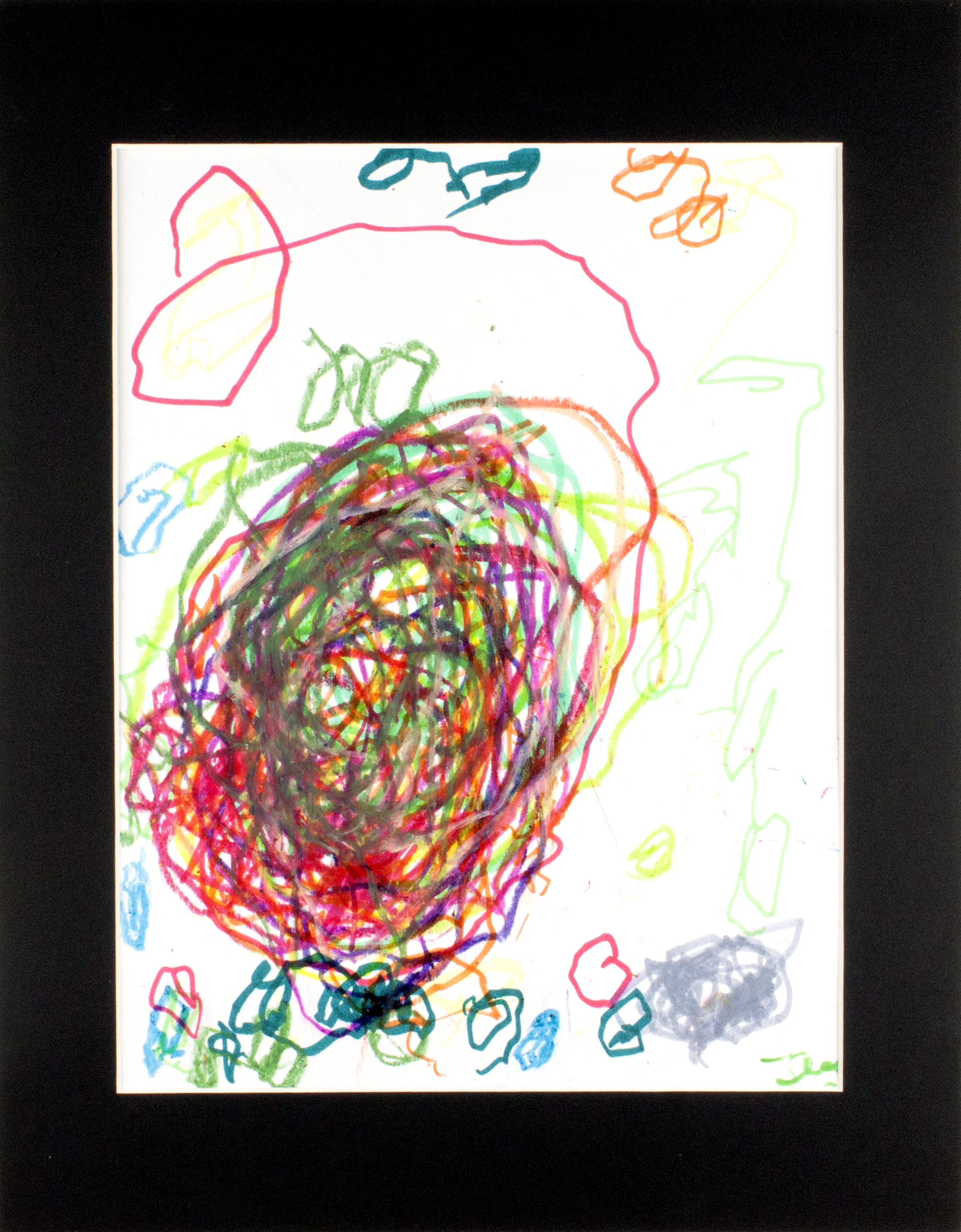 "Untitled . Washable marker and oil pastel on bristol paper. 11"" x 14"" matted."