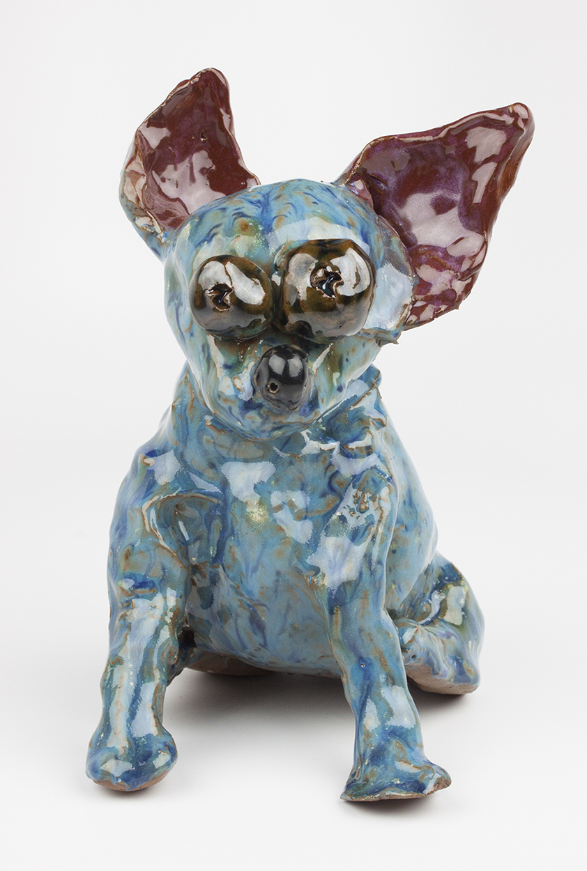 """Booster  (Front View). Earthenware with commercial glazes, oxidation fired to Cone 6. 6"""" x 4"""" x 7""""."""