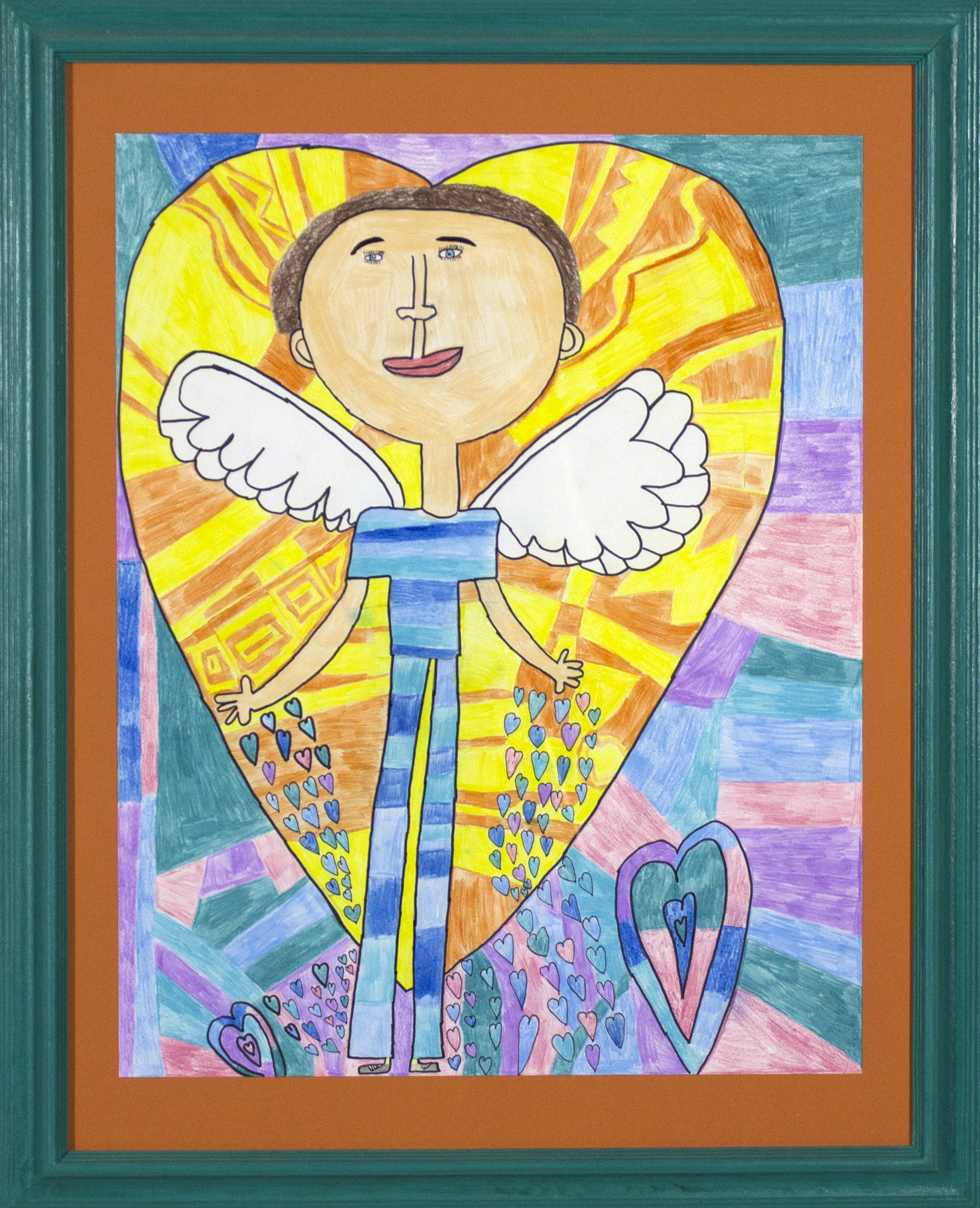 """Love From Above . Graphite, colored pencil, and permanent marker. 22"""" x 28"""" framed."""