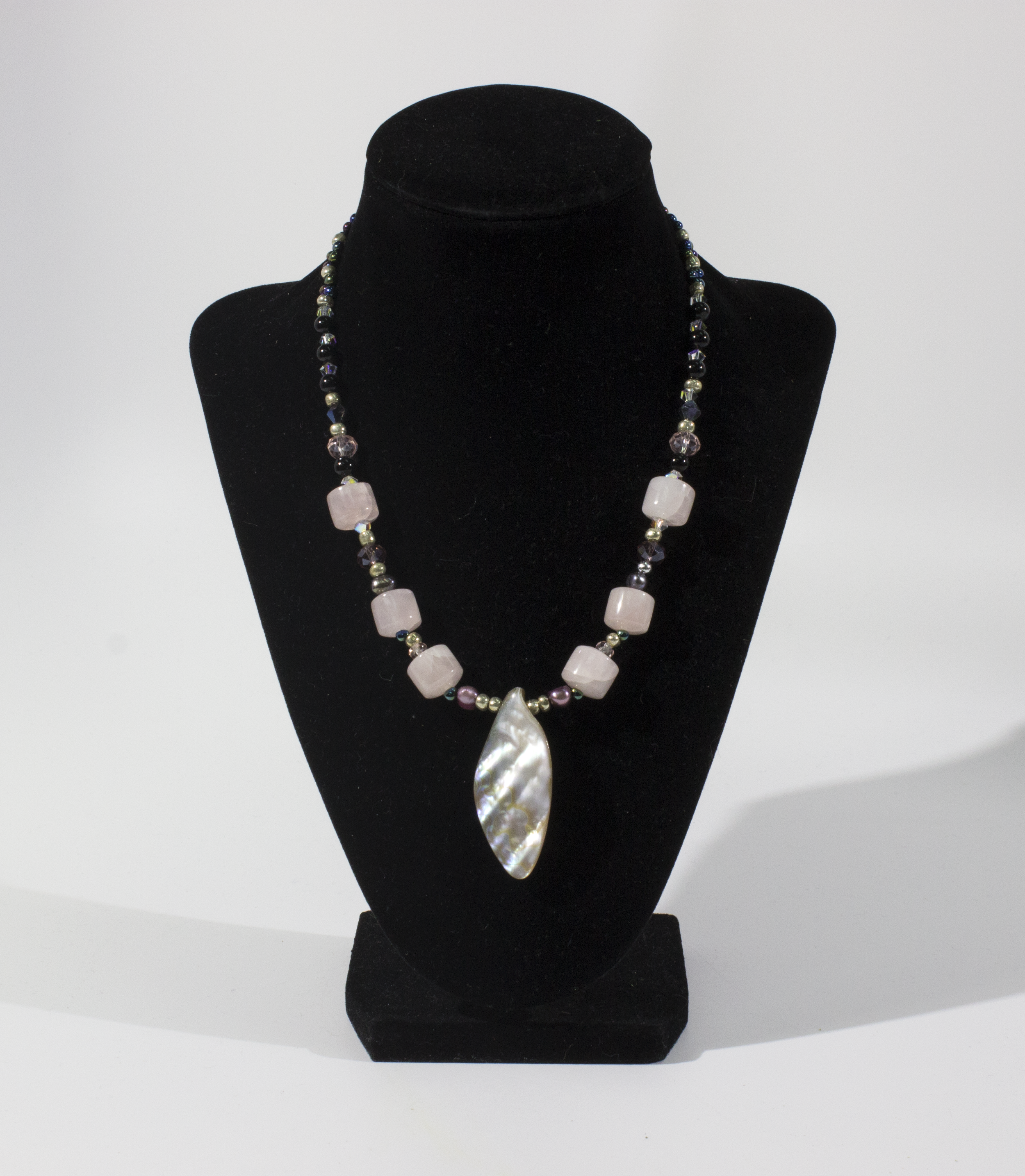 Necklace with Rose Quartz, Black Agate, Swarovski Crystals, Mother of Pearl, and Genuine Pearls. 2018.