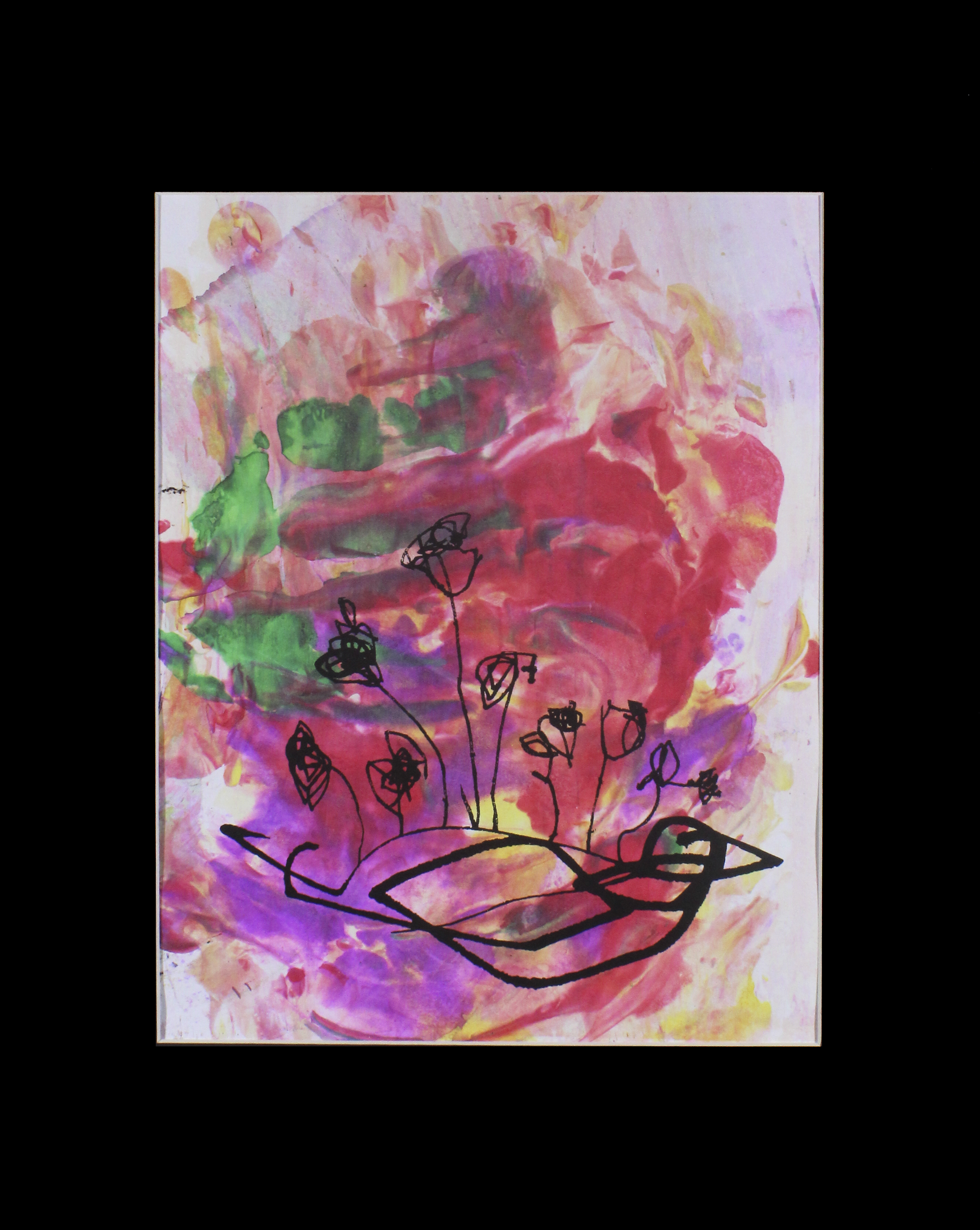 """Flower Bird with Flames . Screen print on hand marbled paper. 16"""" x 20"""" matted."""
