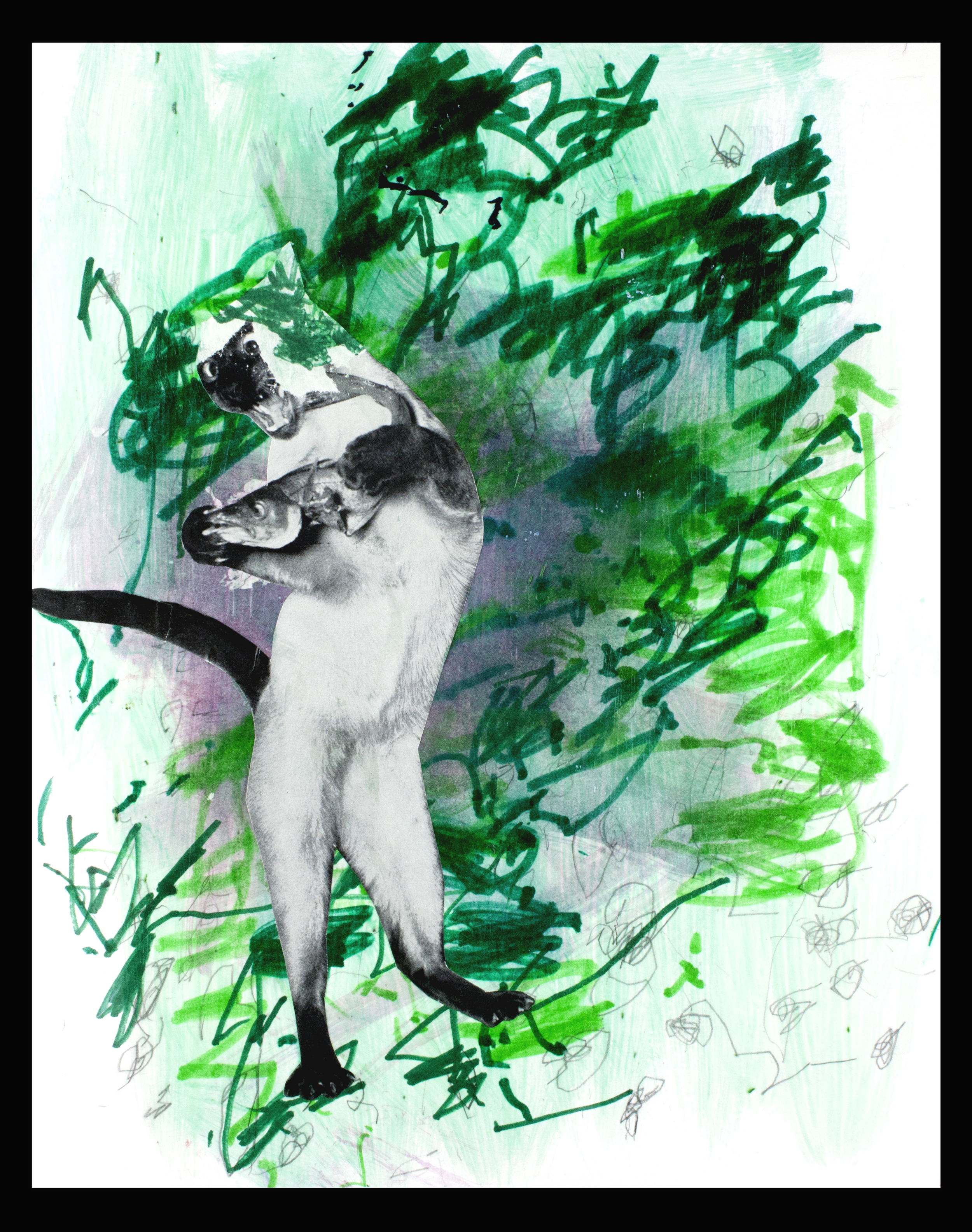 """Meow . Mixed Media Collage. 11""""x 14"""" mounted."""