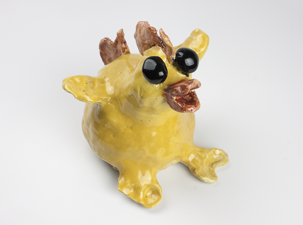 Lucy . Stoneware with commercial glazes. Oxidation fired to Cone 6.