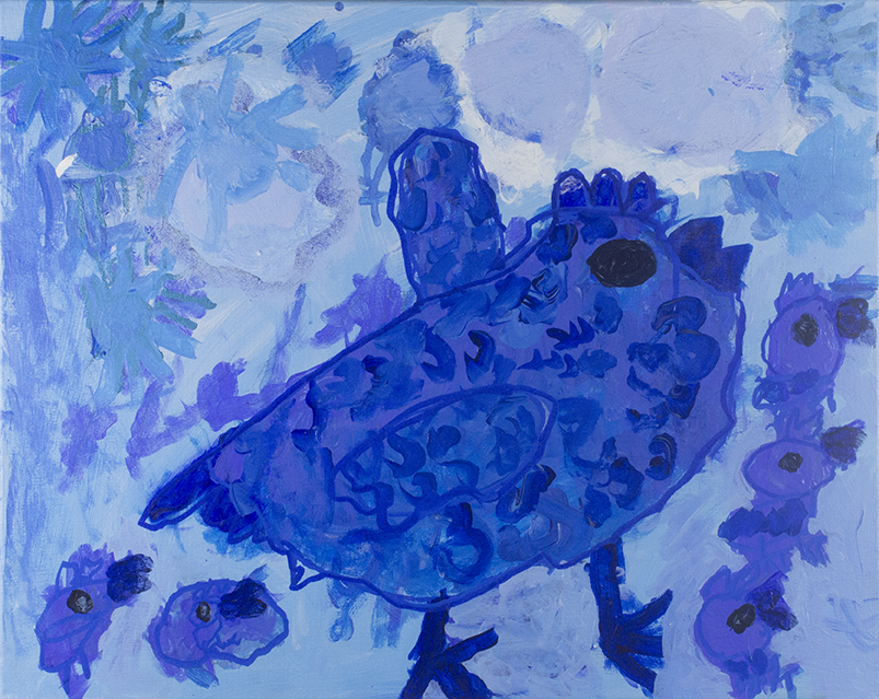 """Big Blue Mama Chicken.  Acrylic and paint marker on canvas. 20""""x16""""."""