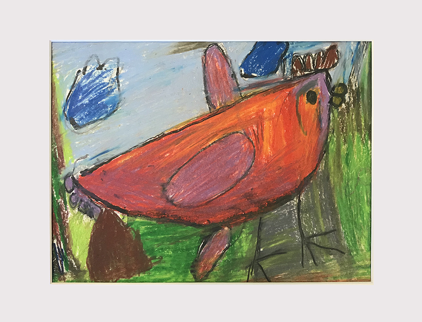 """Chicken Leaving a Present. Colored pencil and paint marker. 14"""" x 11"""" matted."""
