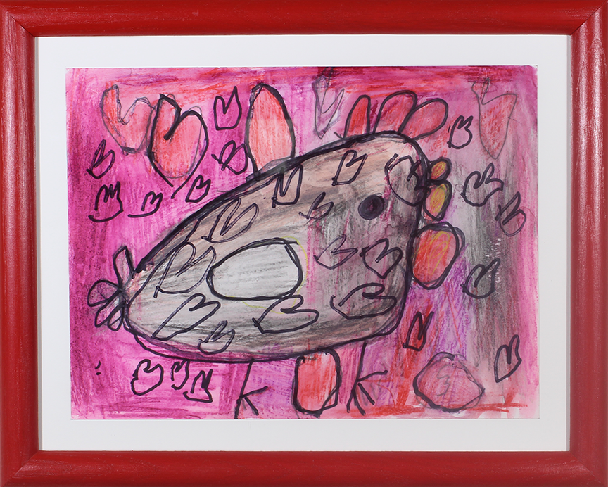 """Chicken Love.  Graphite, watercolor pencil, and marker. 14"""" x 11"""" framed."""