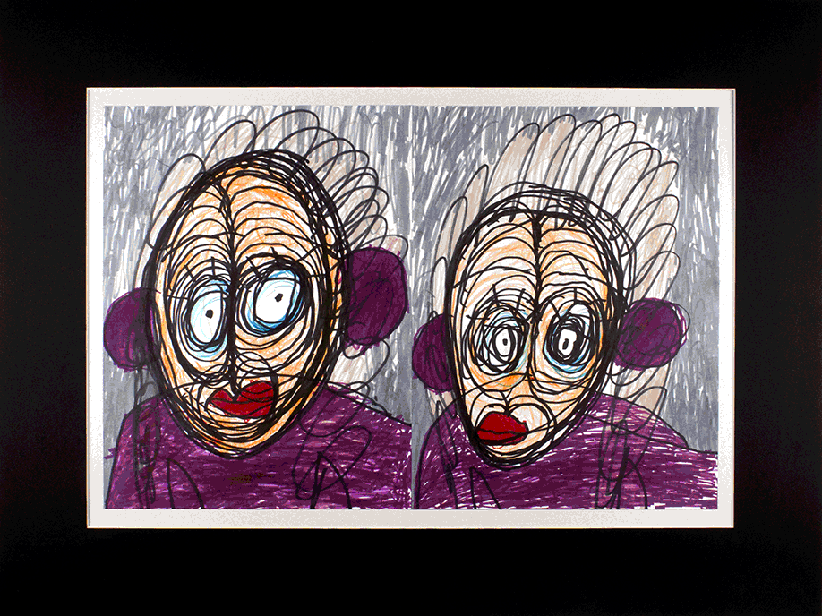 "Aunt Rita, Aunt Rita.  Permanent marker on paper. 24"" x 18"" matted."