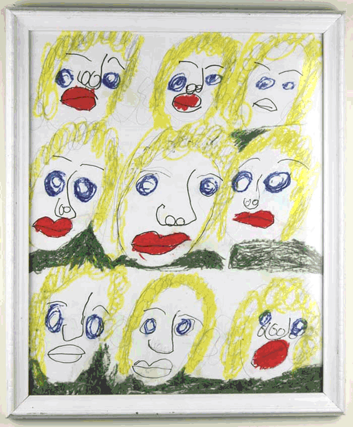 "Angie. Oil Pastel and Marker. 15.5"" x 18.5"" framed."