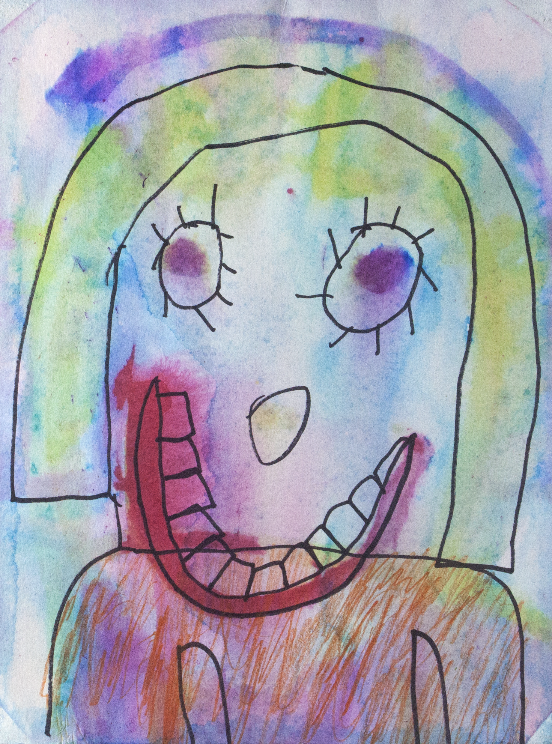 "Aunt Rita and Her Strong Teeth . Mixed media on paper. 11"" x 14""."