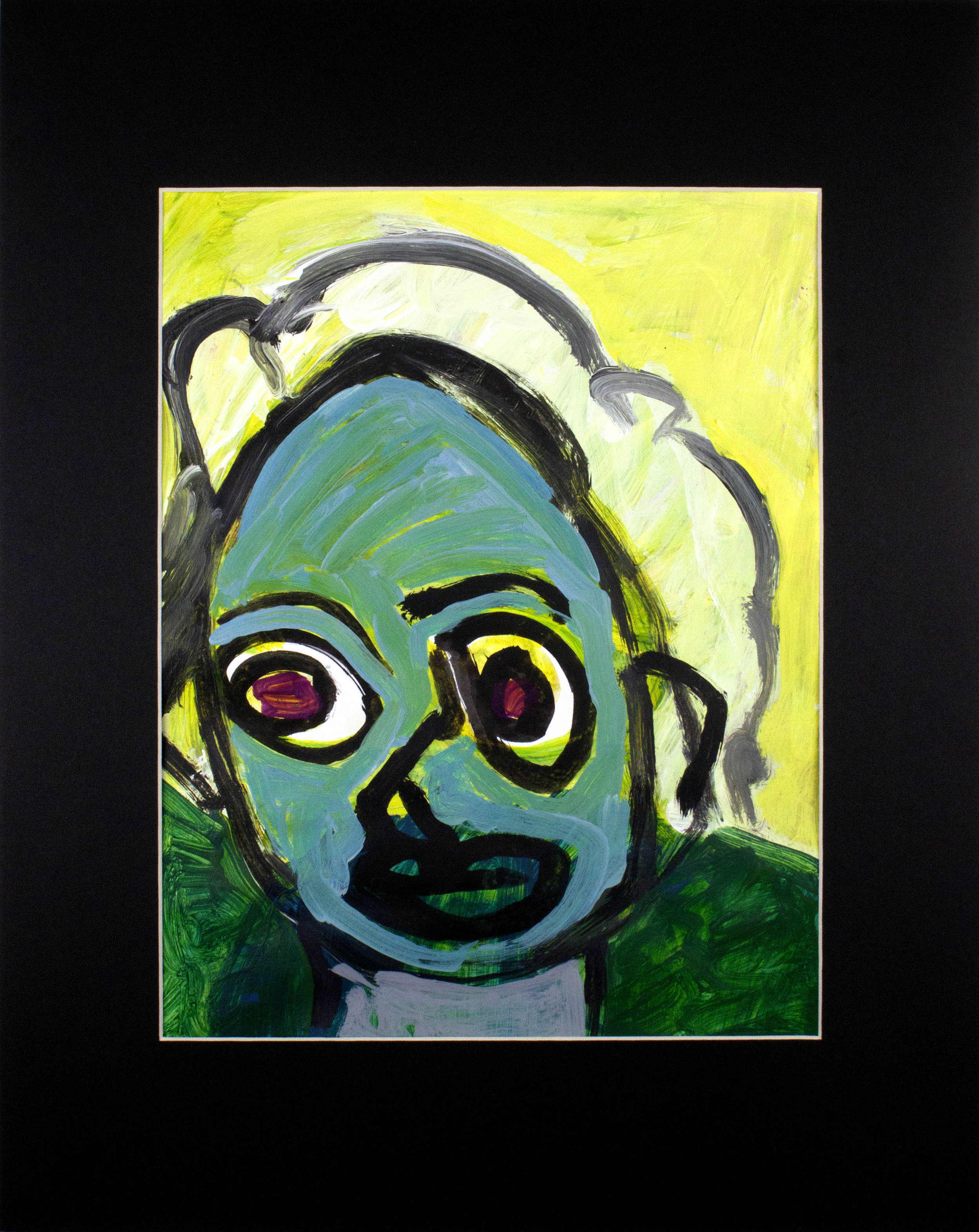 "Green Face Aunt Rita.  Acrylic paint on bristol paper. 16"" x 20"" matted."