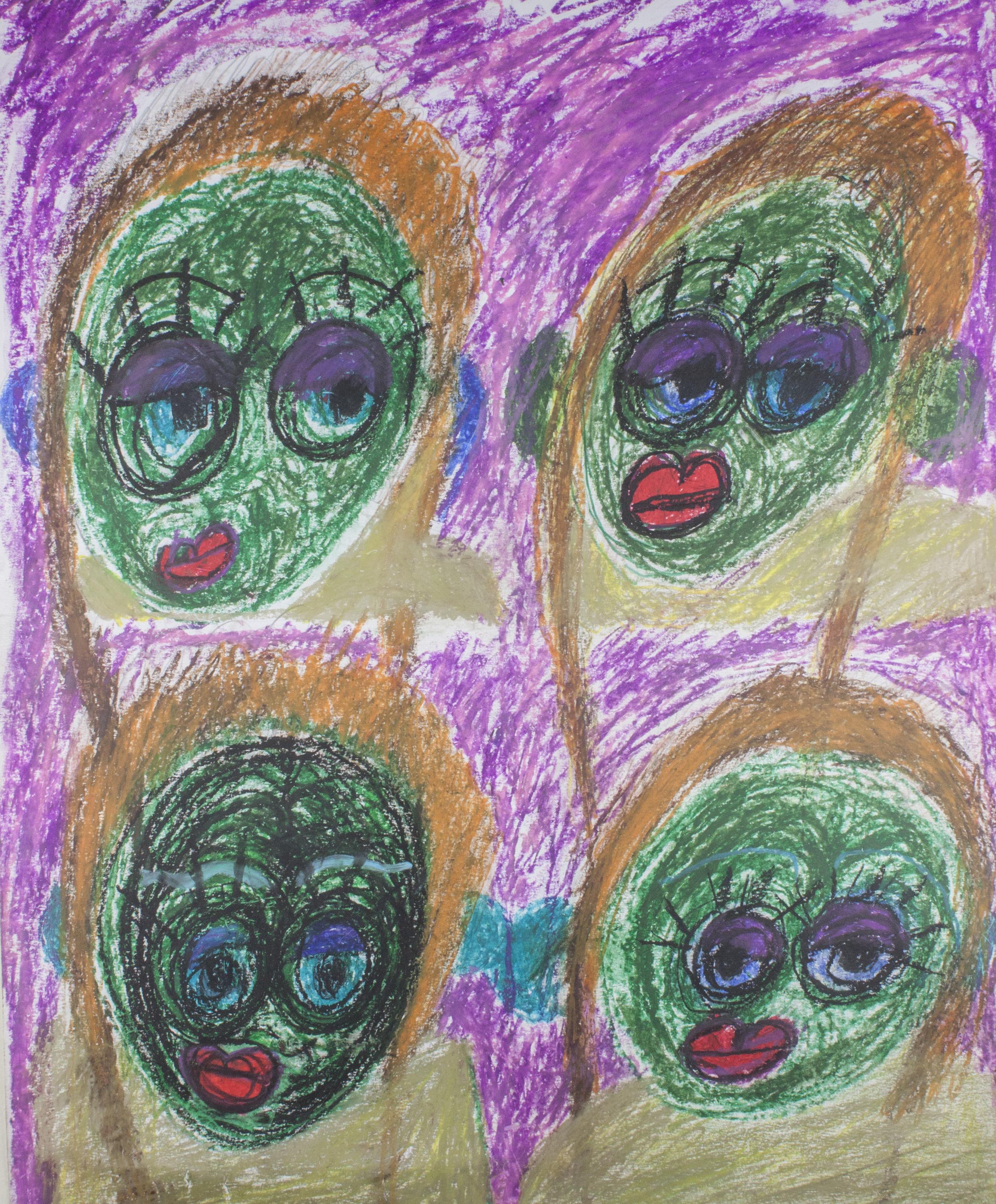 "Green Mood.  Oil pastel on bristol. 20"" x 24""."