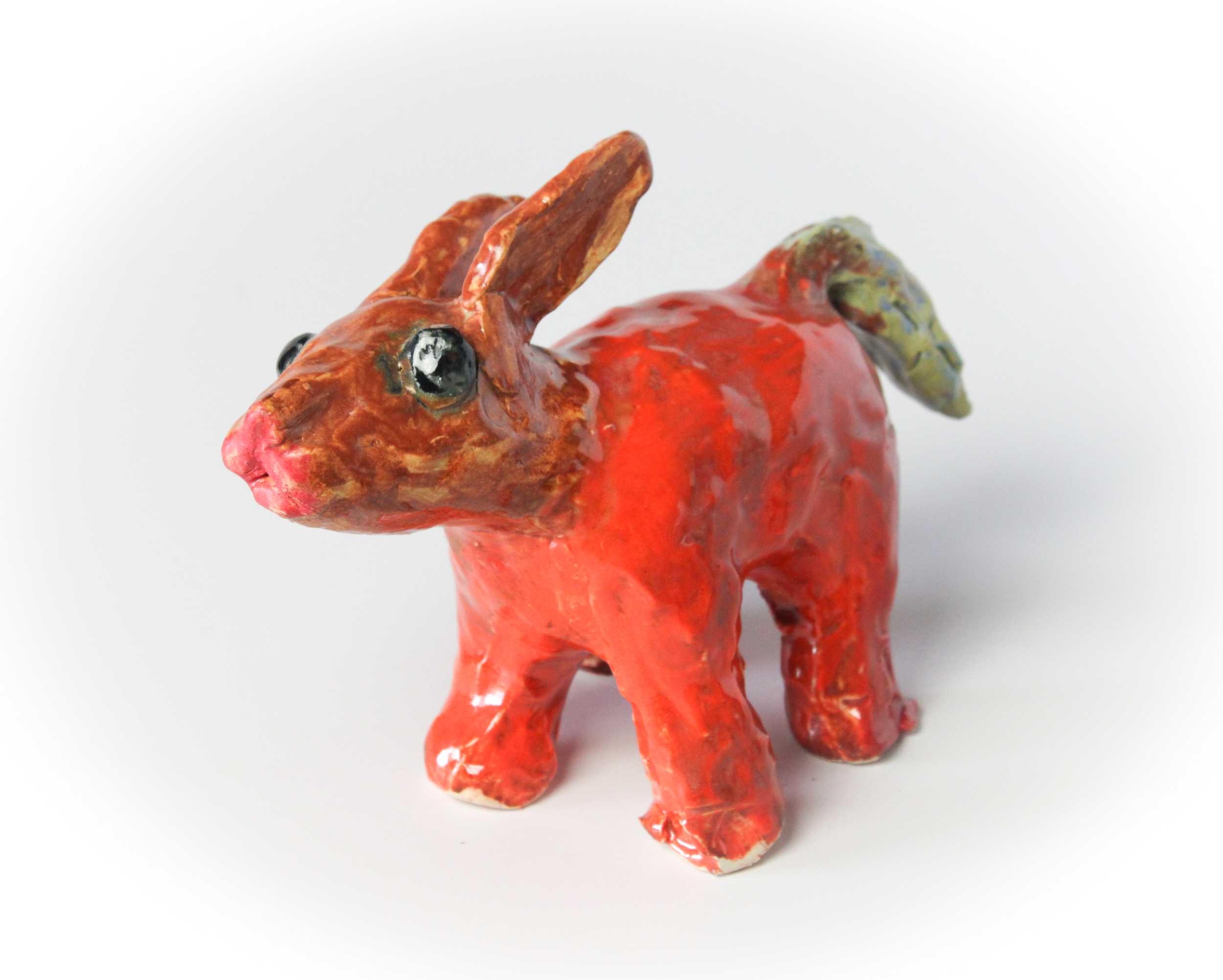 It's A Bunny  (View I). Stoneware clay with commercial glazes. Oxidation fired to Cone 6.