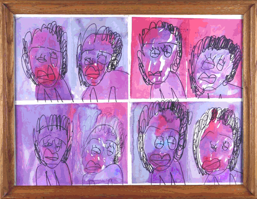 "Purple Moods. Watercolor and Marker. 26.5"" x 20.5"" framed."
