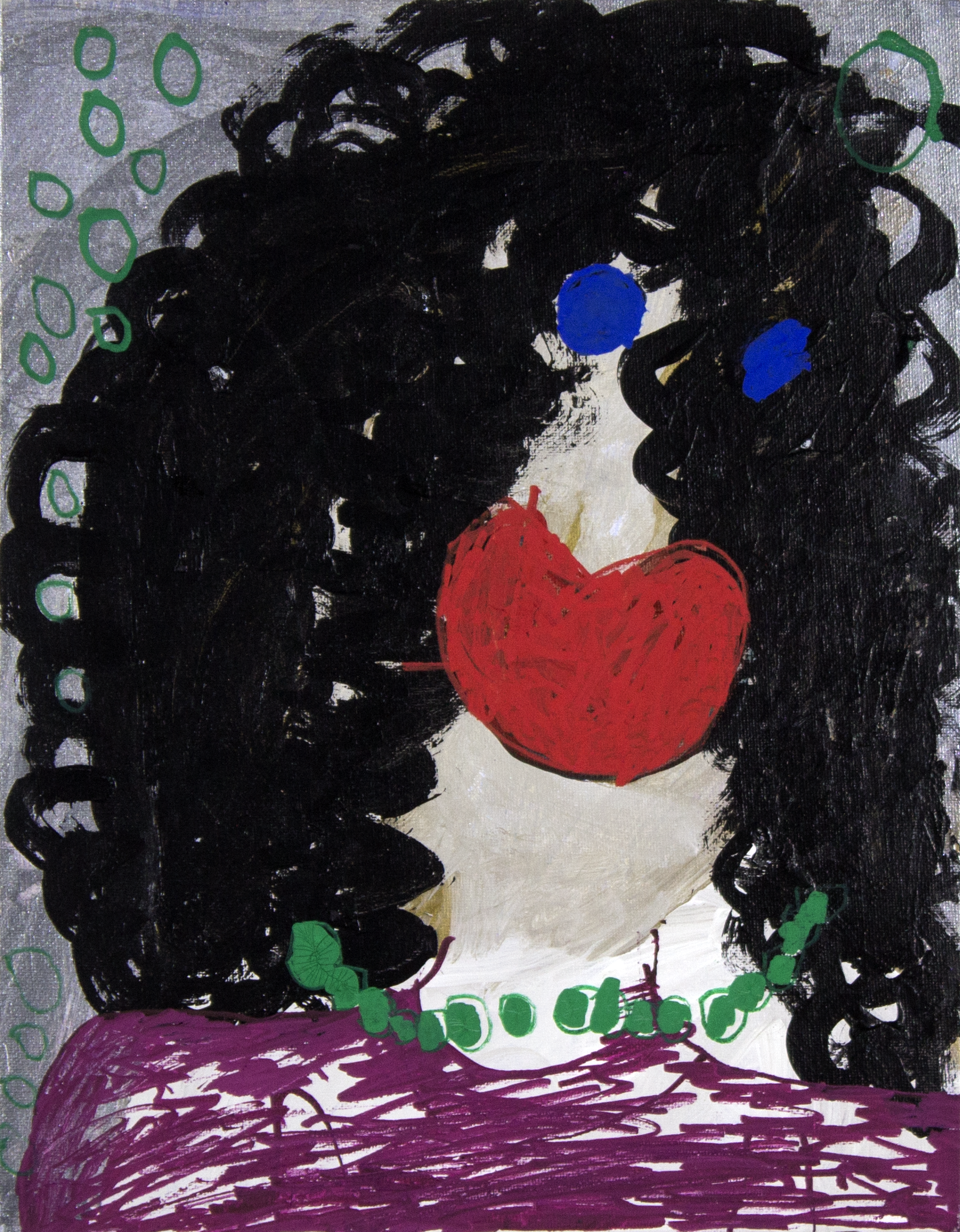 "Selena with the Curly Hair . Acrylic and paint marker on canvas panel. 11"" x 14""."