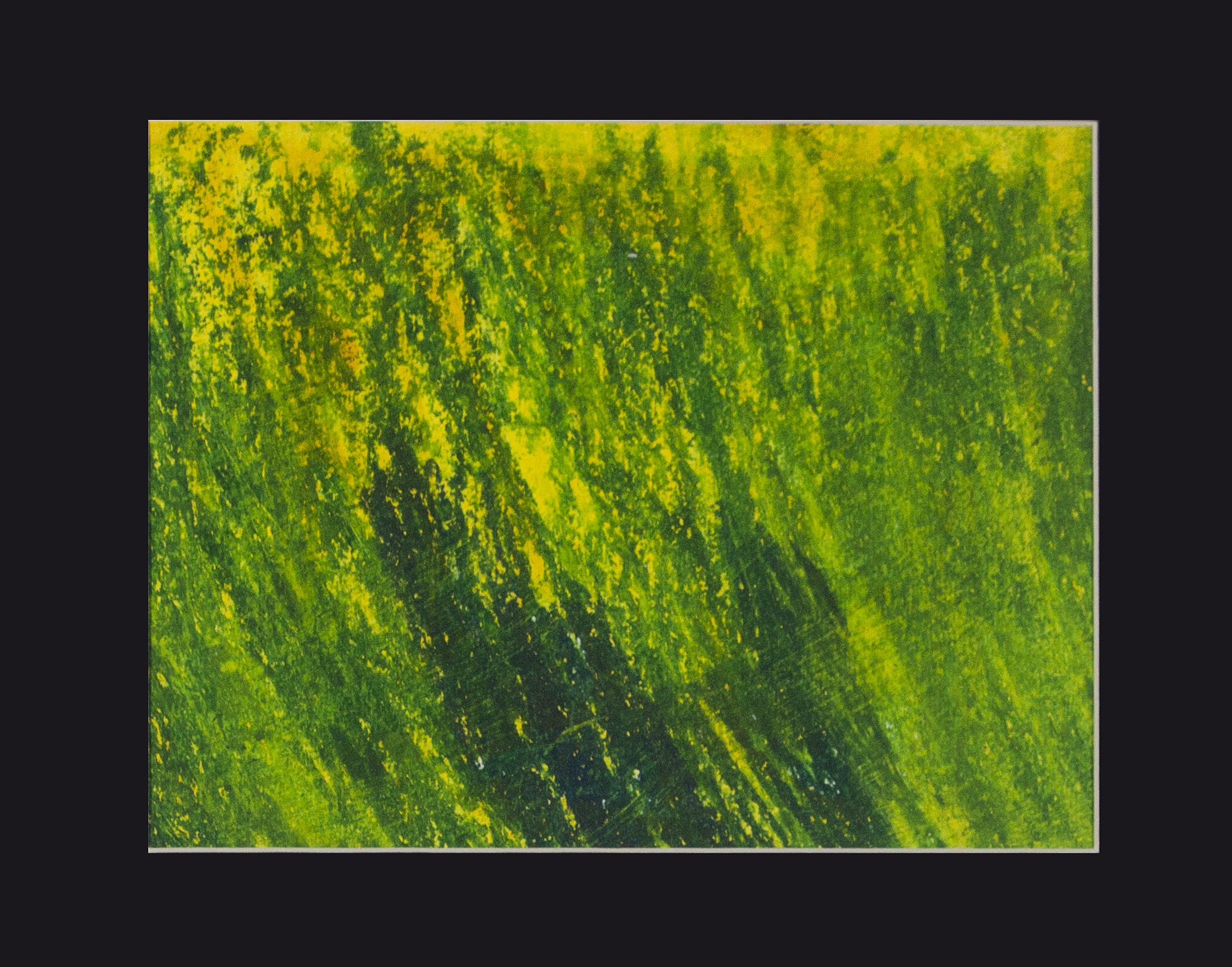 """Green Grass . Watercolor and oil pastel. 14"""" x 11""""."""