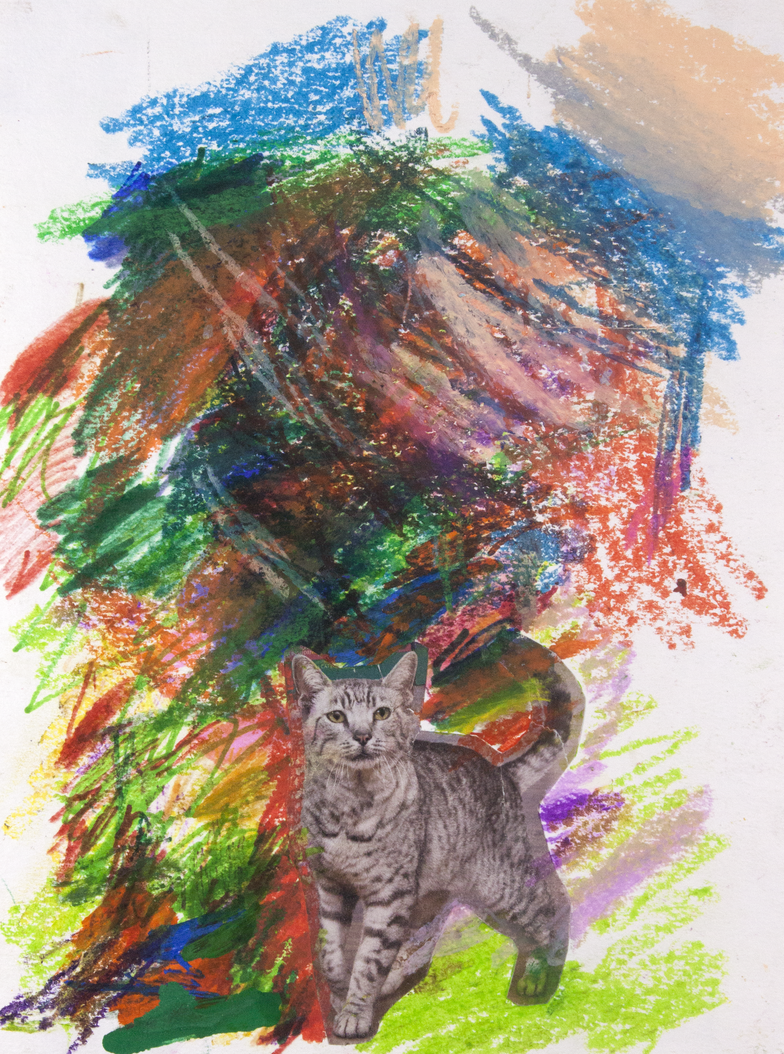 """Cat out of the Woods . Mixed media collage. 11"""" x 14""""."""