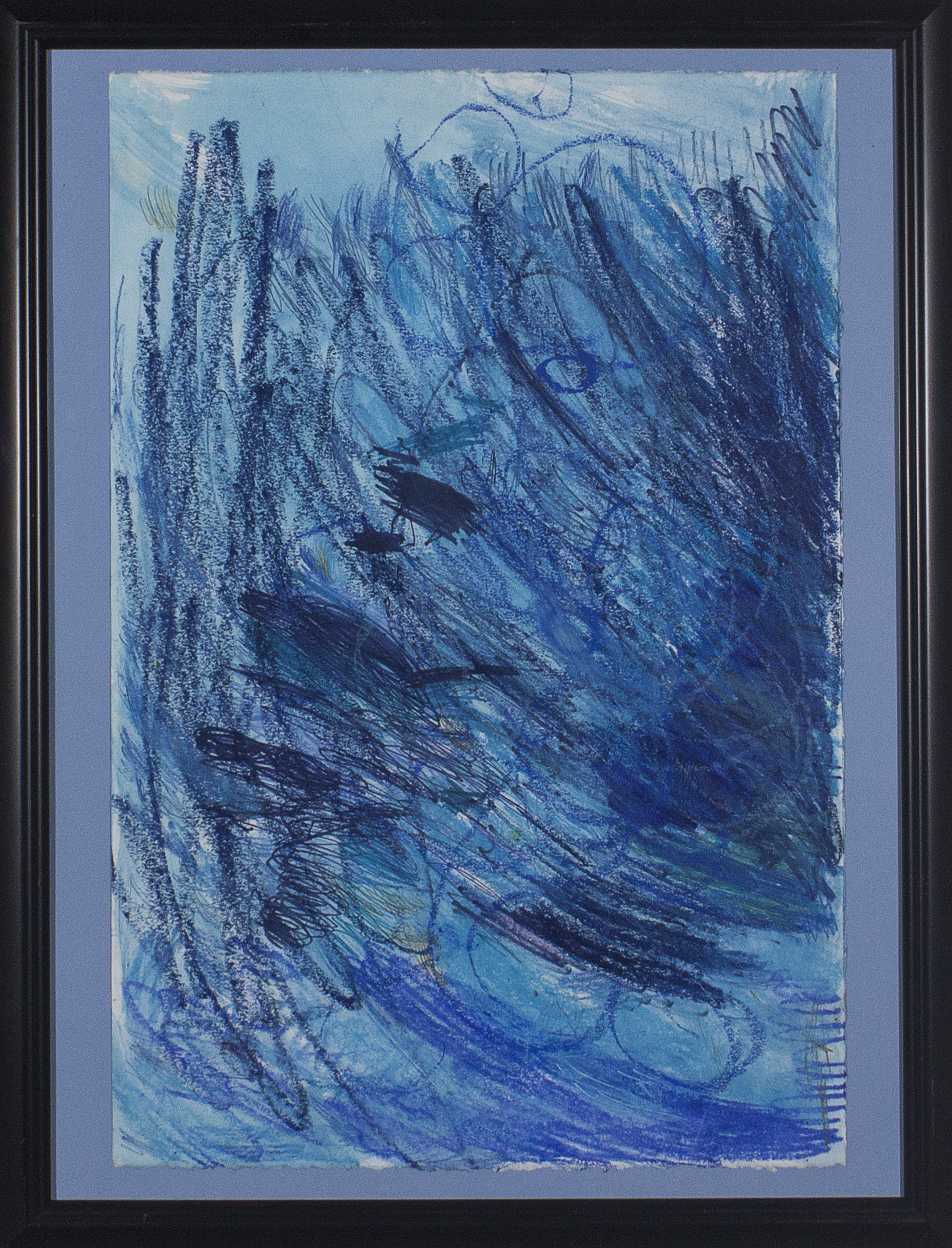 """Rainfall . Marker, crayon, oil pastel, colored pencil, and watercolor. 18"""" x 24""""."""