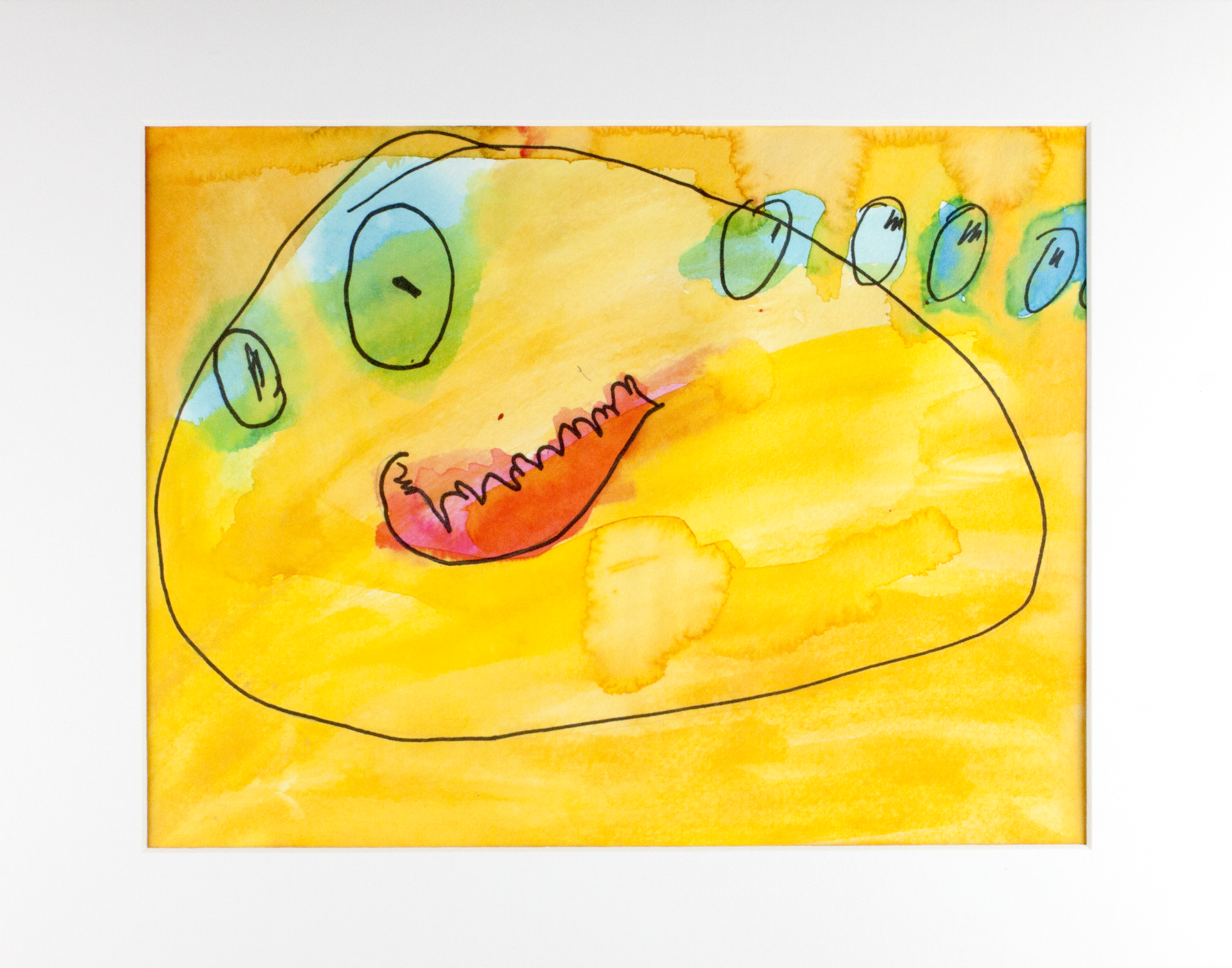 """The   Blob . Watercolor and marker on watercolor paper. 14"""" x 11"""" matted."""