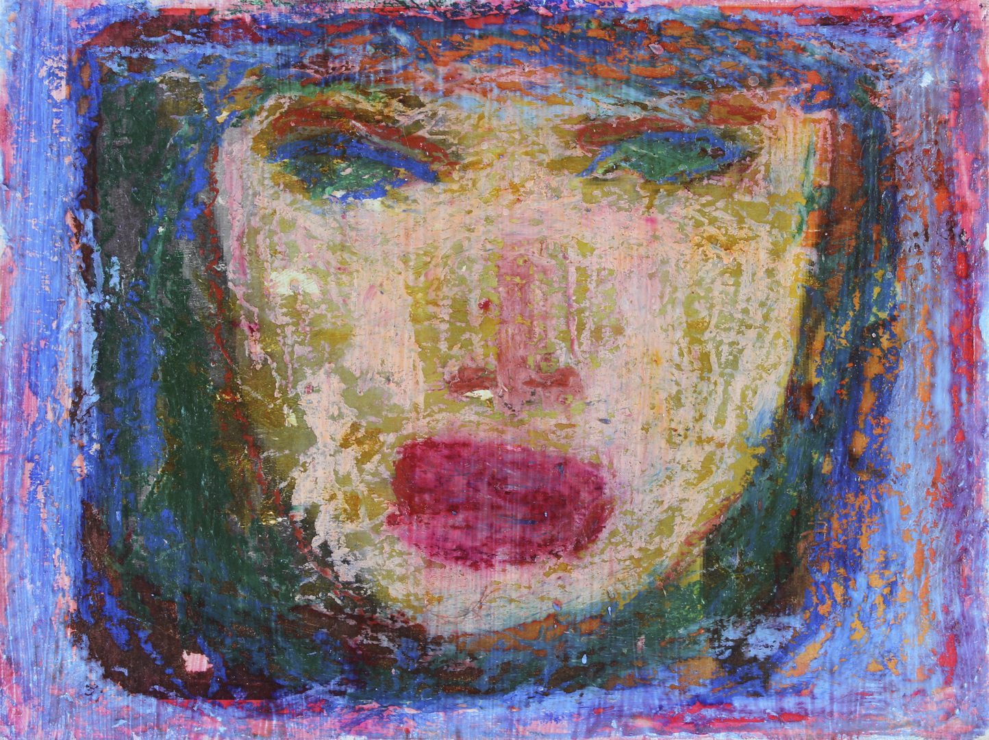 "Lady Face.  Acrylic and oil pastel on canvas panel. 12"" x 9""."
