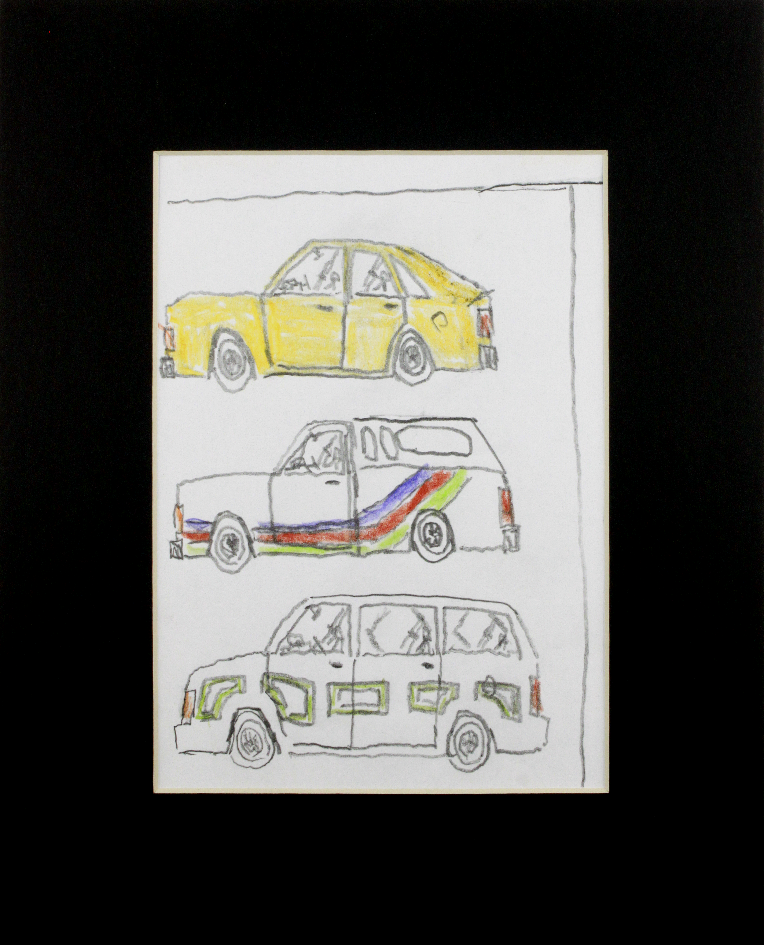 "Car Truck Van.  Graphite and Colored Pencil on paper. 8"" x 10"" matted."