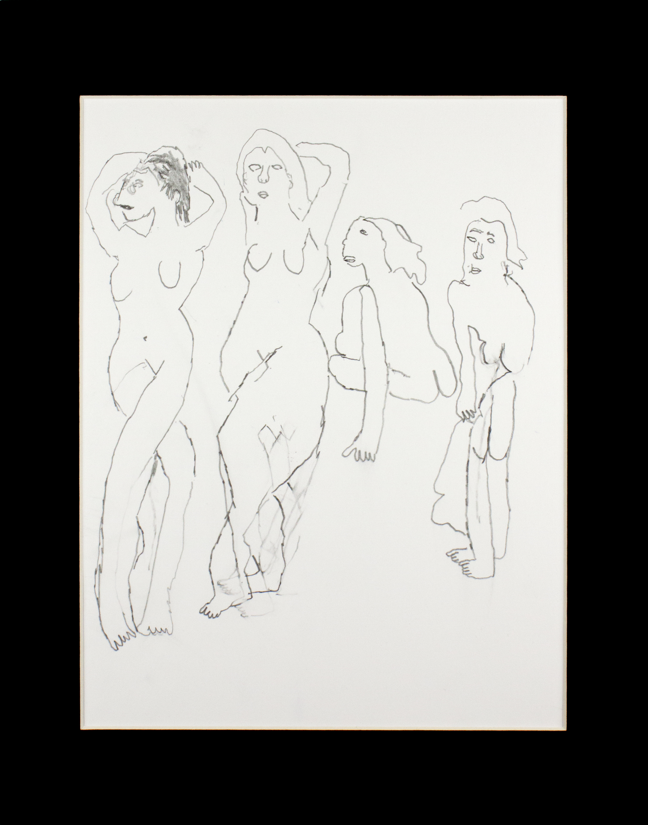 "Four Naked Ladies on paper.  Graphite On Paper. 11"" x 14"" matted."
